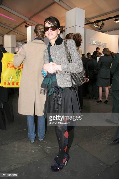 Designer Kate Spade poses for photos at Olympus Fashion Week Fall 2005 at Bryant Park February 04 2004 in New York City