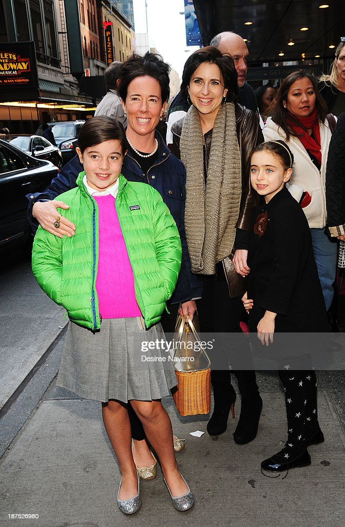 Designer Kate Spade with daughter Beatrix Spade (L), and Darcy Miller with her daughter (R) Daisy Nussabaum attend the 5,000 performance celebration of 'Mamma Mia!' on Broadway at Broadhurst Theatre on November 9, 2013 in New York City.