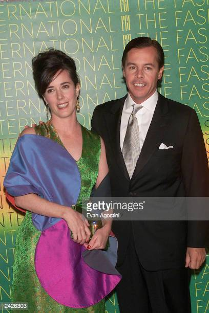 Designer Kate Spade with husband Andy at The Fashion Group International 'Night Of Stars 2001 Dynasty Generations of Design' awards gala at Cipriani...
