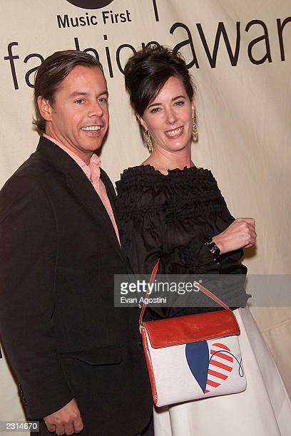Designer Kate Spade with husband Andy Spade arriving at the 2001 VH1 Vogue Fashion Awards at Hammerstein Ballroom in New York City, 10/19/01. Photo...