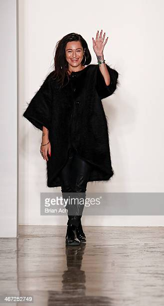 Designer Katharine Polk asppears on the runway at the Houghton fashion show during MADE Fashion Week fall 2014 at Milk Studios on February 6 2014 in...