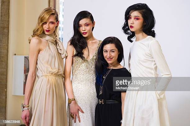 Designer Katharine Polk with models attend the Houghton Fall 2012 fashion show during MercedesBenz Fashion Week at the Avery Fisher Hall Lincoln...