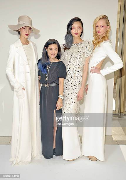 Designer Katharine Polk with models durings the Houghton fall 2012 fashion show during MercedesBenz Fashion Week at Avery Fisher Hall Lincoln Center...