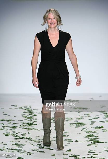 Designer Kathleen Plate walks the runway at the Green Initiative Humanitarian Spring 2009 fashion show during MercedesBenz Fashion Week held at...