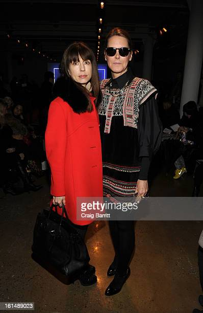 Designer Kathryn Dianos and Sarah Gore Reeves Editor Vogue Latin America attend the Ohne Titel fall 2013 fashion show during MADE Fashion Week at...
