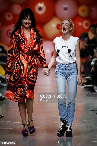 Designer Katie Eary with Daisy Lowe walks the runway at the Katie Eary show during London Fashion Week Men's January 2017 collections at BFC Show...