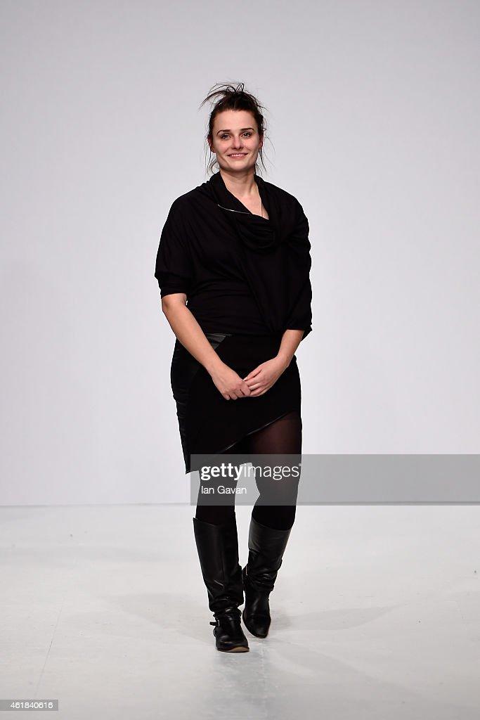 Designer Katrin Sergejew attends her Kaseee show during the Mercedes-Benz Fashion Week Berlin Autumn/Winter 2015/16 at Brandenburg Gate on January 20, 2015 in Berlin, Germany.