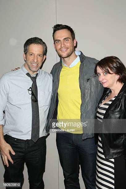 Designer Kenneth Cole actors Cheyenne Jackson and Rachel Dratch backstage at the Kenneth Cole Collection Fall 2013 fashion show during MercedesBenz...