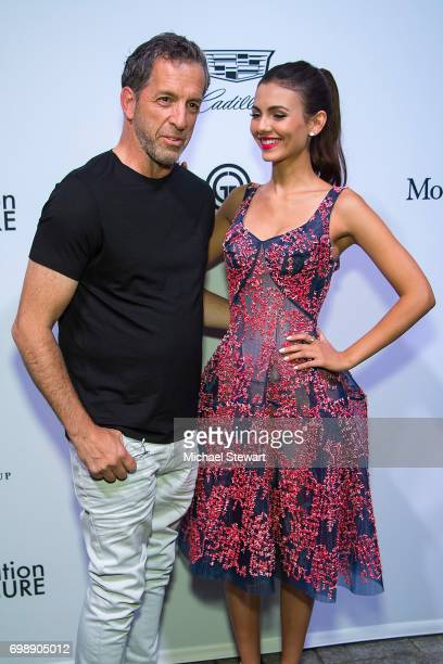 Designer Kenneth Cole and actress Victoria Justice attend amfAR generationCURE Solstice 2017 at Mr Purple on June 20 2017 in New York City