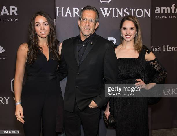 Designer Kenneth Cole and daughters Catie Cole and Emily Cole attend 19th Annual amfAR New York Gala at Cipriani Wall Street on February 8 2017 in...