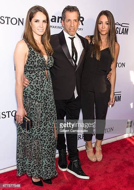 Designer Kenneth Cole and daughters Emily Cole and Catie Cole attend the 2015 amfAR Inspiration Gala New York at Spring Studios on June 16 2015 in...