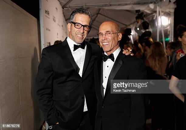 Designer Kenneth Cole and Honoree Jeffrey Katzenberg attend amfAR's Inspiration Gala at Milk Studios on October 27 2016 in Hollywood California