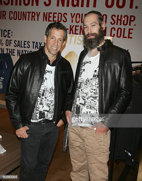 Designer Kenneth Cole and Matisyahu attend the Kenneth Cole celebration for Fashion's Night Out at Kenneth Cole New York Rockefeller Center Store on...