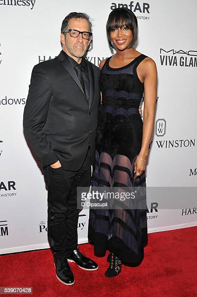 Designer Kenneth Cole and model Naomi Campbell attends the 7th Annual amfAR Inspiration Gala at Skylight at Moynihan Station on June 9, 2016 in New...