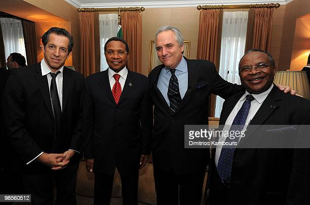 Designer Kenneth Cole President Jakaya Kikwete Vin Roberti of Navigators Global and Professor Jumanne Maghembe attend the Tanzania Education Trust...