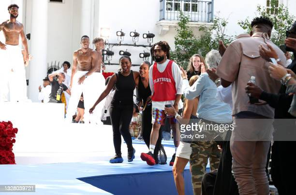 Designer Kerby Jean-Raymond walks the runway during the Pyer Moss Couture Haute Couture Fall/Winter 2021/2022 show as part of Paris Fashion Week on...