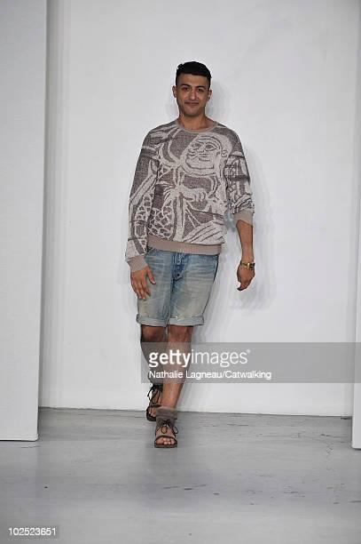 Designer Khalid bin Sultan Al Qasimi during the runway during the Qasimi Homme fashion show at Paris Menswear Fashion Week for Spring Summer 2011 on...