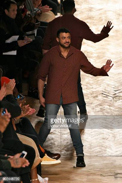 Designer Khalid bin Sultan Al Qasimi walks the runway at the Qasimi show during London Fashion Week Men's January 2018 at 100 Sydney Street on...