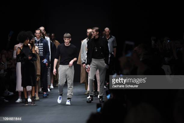 Designer Kilian Kerner acknowledges the applause of the audience aftwer the KXXK show during the Berlin Fashion Week Autumn/Winter 2019 at ewerk on...