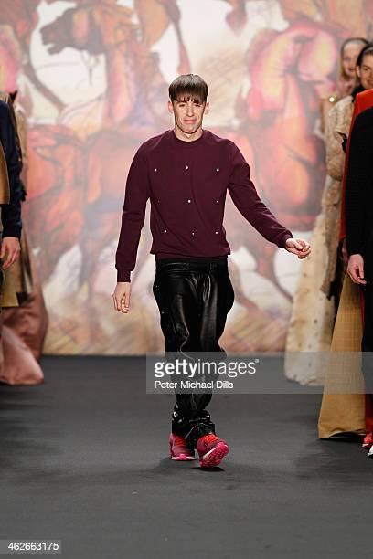 Designer Kilian Kerner acknowledges the audience at the Kilian Kerner show during MercedesBenz Fashion Week Autumn/Winter 2014/15 at Brandenburg Gate...