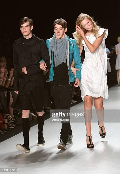 Designer Kilian Kerner and models at the Mercedes Benz Fashion week spring/summer 2009 readytowear fashion show of Kilian Kerner on July 20 2008 in...