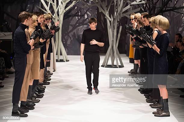 Designer Kilian Kerner on the runway at his Kilian Kerner show during the MercedesBenz Fashion Week Berlin Autumn/Winter 2016 at Ellington Hotel on...