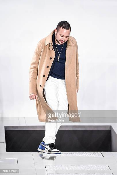 Designer Kim Jones on the runway during the Louis Vuitton Menswear Fall/Winter 20162017 show as part of Paris Fashion Week on January 21 2016 in...