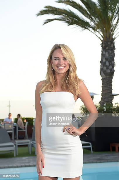 Designer Kimberley Garner attends a launch party for her luxury swimwear collection at The London on March 31 2015 in West Hollywood California
