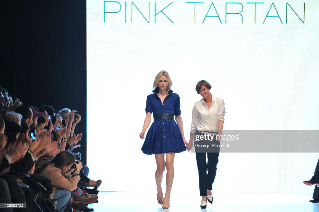 2011 LG Toronto Fashion Week Spring 2012 Collection - Pink Tartan - Runway : News Photo