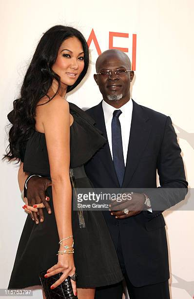 Designer Kimora Lee and actor Djimon Hounsou arrive at AFI's 39th Annual Achievement Award Honoring Morgan Freeman at Sony Pictures Studios on June 9...