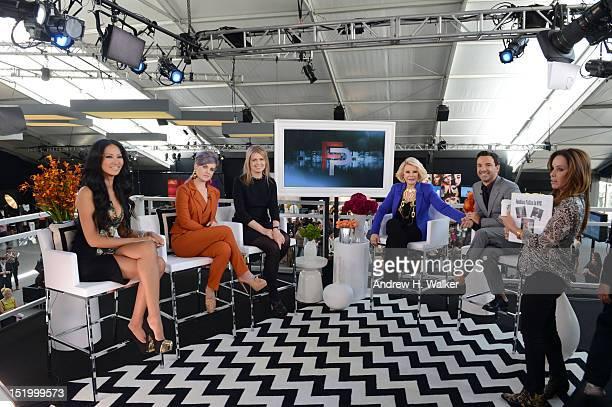 Designer Kimora Lee Simmons host Kelly Osbourne designer Jenny Packham hosts Joan Rivers and George Kotsiopoulos and producer Melissa Rivers are seen...