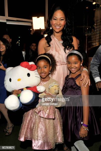 Designer Kimora Lee with daughters Aoki Lee Simmons and Ming Lee Simmons attend the Hello Kitty 35th anniversary celebration held at Royal/T on...