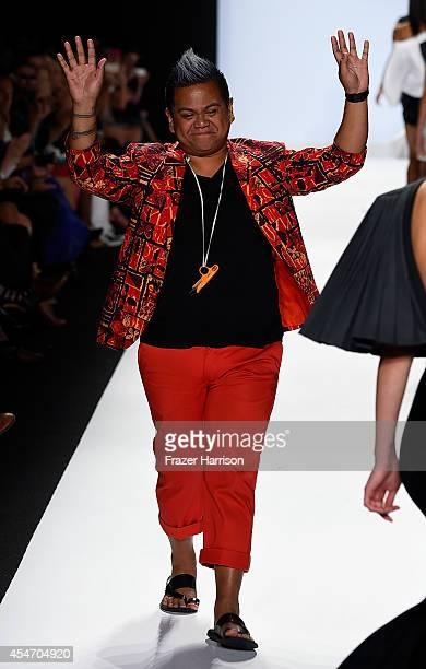 Designer Kini Zamora walks the runway at the Project Runway fashion show during MercedesBenz Fashion Week Spring 2015 at The Theatre at Lincoln...