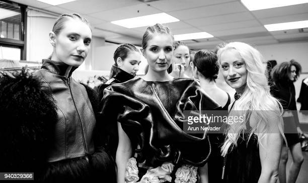Designer Kirsten Ley is seen backstage with models at Vancouver Fashion Week at Angel Orensanz Foundation on March 25 2018 in Vancouver Canada