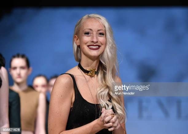 Designer Kirsten Ley walks the runway at 2018 Vancouver Fashion Week Day 6 on March 24 2018 in Vancouver Canada