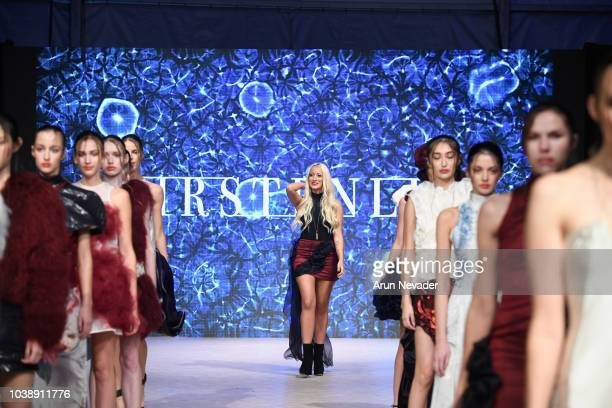 Designer Kirsten Ley walks the runway at Vancouver Fashion Week Spring/Summer 19 Day 6on September 22 2018 in Vancouver Canada