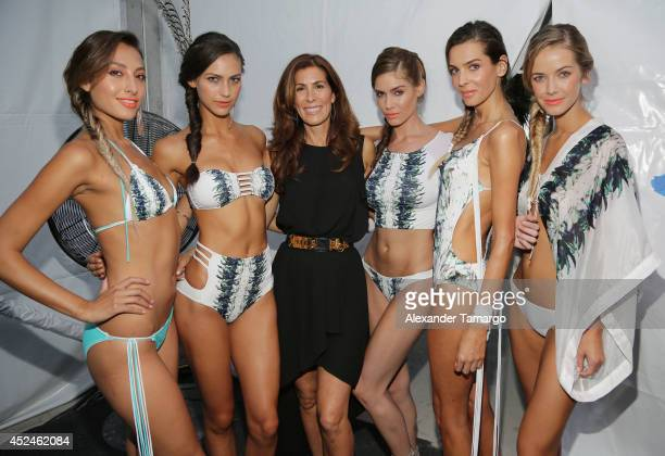 Designer Kirsten Sarkisian is seen backstage at Belusso fashion show during MercedesBenz Fashion Week Swim 2015 at Oasis at the Raleigh Hotel on July...
