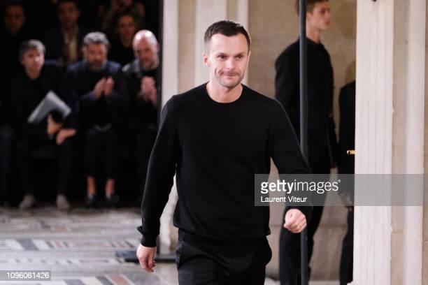 Designer Kris van Assche walks the runway during the Berluti Menswear Fall/Winter 20192020 show as part of Paris Fashion Week on January 18 2019 in...