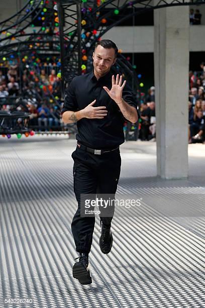 designer Kris Van Assche walks the runway during the Dior Homme Menswear Spring/Summer 2017 show designed by Kris Van Assche as part of Paris Fashion...