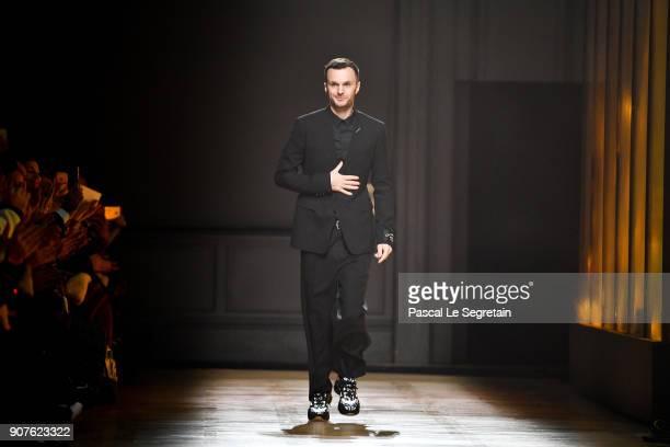 Designer Kris Van Assche walks the runway during the Dior Homme Menswear Fall/Winter 20182019 show as part of Paris Fashion Week on January 20 2018...