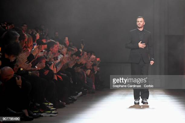 Designer Kris Van Assche walks the runway during the Dior Homme Menswear Fall/Winter 20182019 show as part of Paris Fashion Week January 20 2018 in...