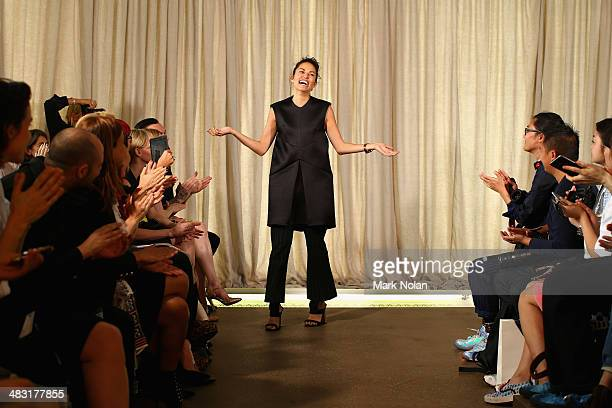 Designer Kym Ellery thanks guests on the runway at the Ellery show during MercedesBenz Fashion Week Australia 2014 at Bondi Icebergs Dining Room on...