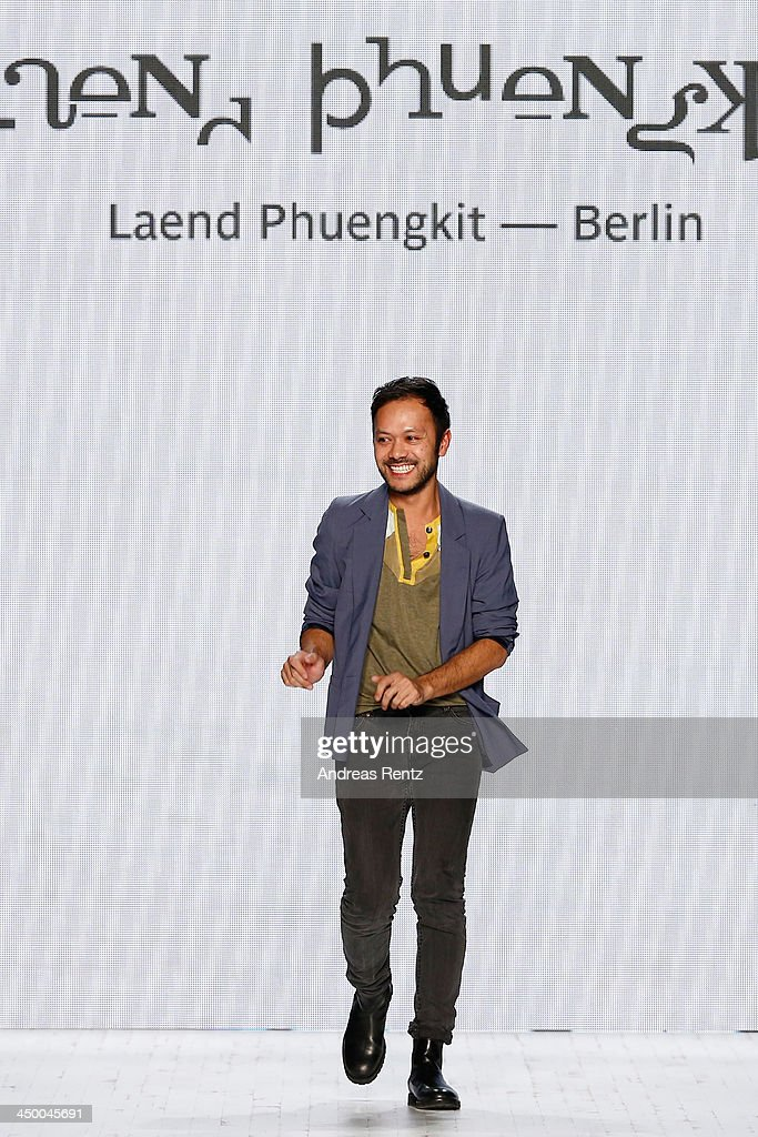 Designer Laend Phungkit on the runway after the Laend Phungkit show during Mercedes-Benz Fashion Days Zurich 2013 on November 16, 2013 in Zurich, Switzerland.