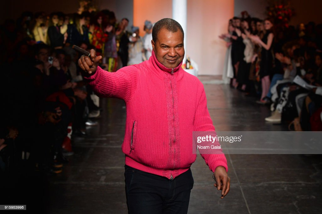 Designer Lamine Badian Kouyate walks the runway for Ceremony: Xuly.Bet x Mimi Prober x Hogan McLaughlin front row during New York Fashion Week presented by First Stage at Industria Studios on February 8, 2018 in New York City.