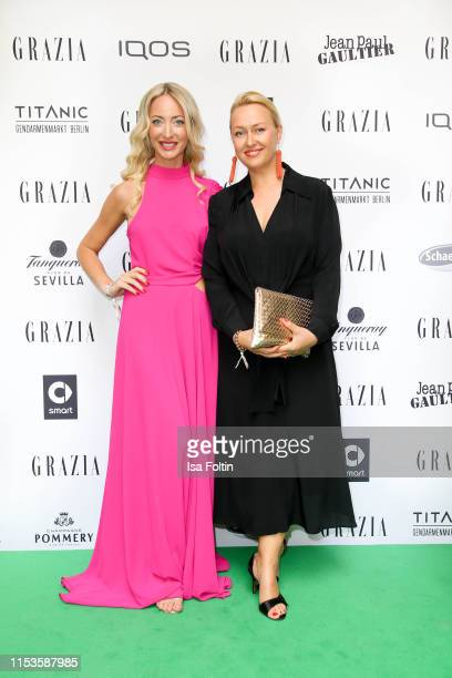 Designer Lana Mueller and guest during the Grazia Fashion Night at Titanic Hotel on July 3 2019 in Berlin Germany
