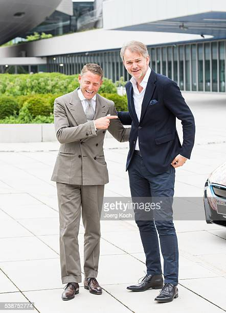 Designer Lapo Elkann and BMW Group Chief Designer Adrian van Hooydonk pose during the presentation of the BMW i8 Futurism Edition on June 8 2016 in...