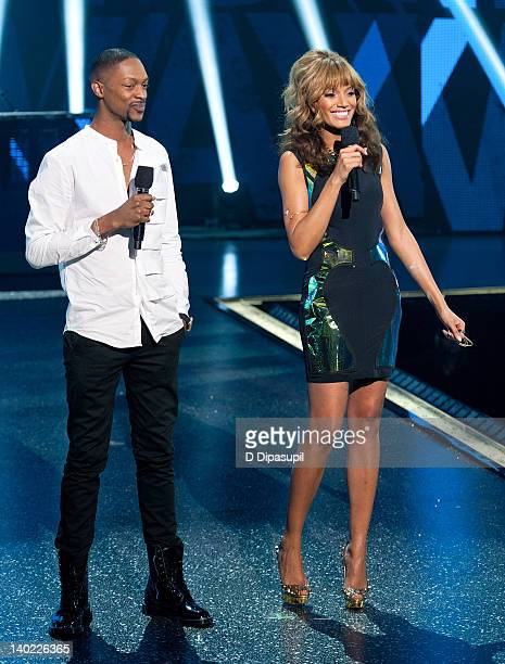 Designer Laquan Smith and cohost Selita Ebanks speak on stage during BET's Rip the Runway 2012 at Hammerstein Ballroom on February 29 2012 in New...