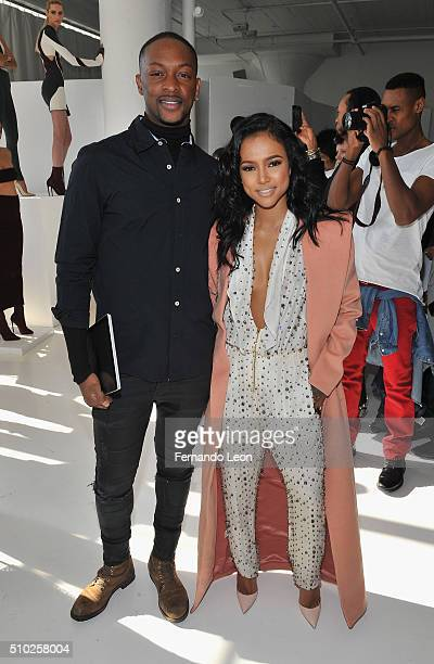 Designer Laquan Smith and Karrueche Tran attend the Laquan Smith Presentation at Jack Studios during Fall 2016 New York Fashion Week on February 14...