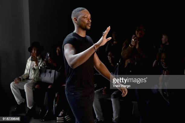 Designer LaQuan Smith attends the Laquan Smith front row during New York Fashion Week The Shows at Gallery I at Spring Studios on February 14 2018 in...