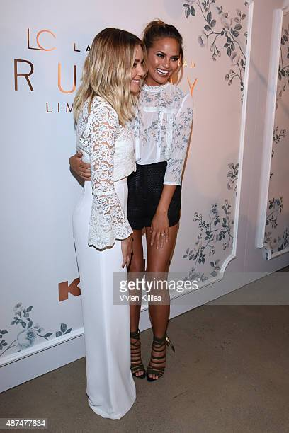 Designer Lauren Conrad and model Chrissy Teigen pose backstage at the LC Lauren Conrad fashion show during New York Fashion Week Spring 2016 at...